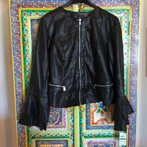 INC black faux leather jacket Size L NWT